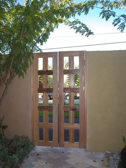 Marvelous Cedar Garden Entrance Gates | ... Cedar Double Gates. The Gated Courtyard  Has