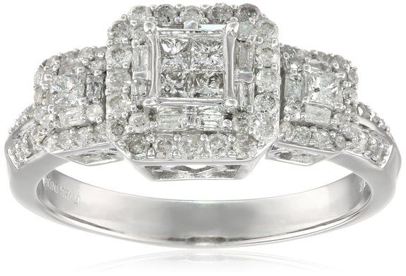 Amazon.com: 10k White Gold Diamond Engagement Ring (1 cttw, I-J Color, I2-I3 Clarity): Jewelry