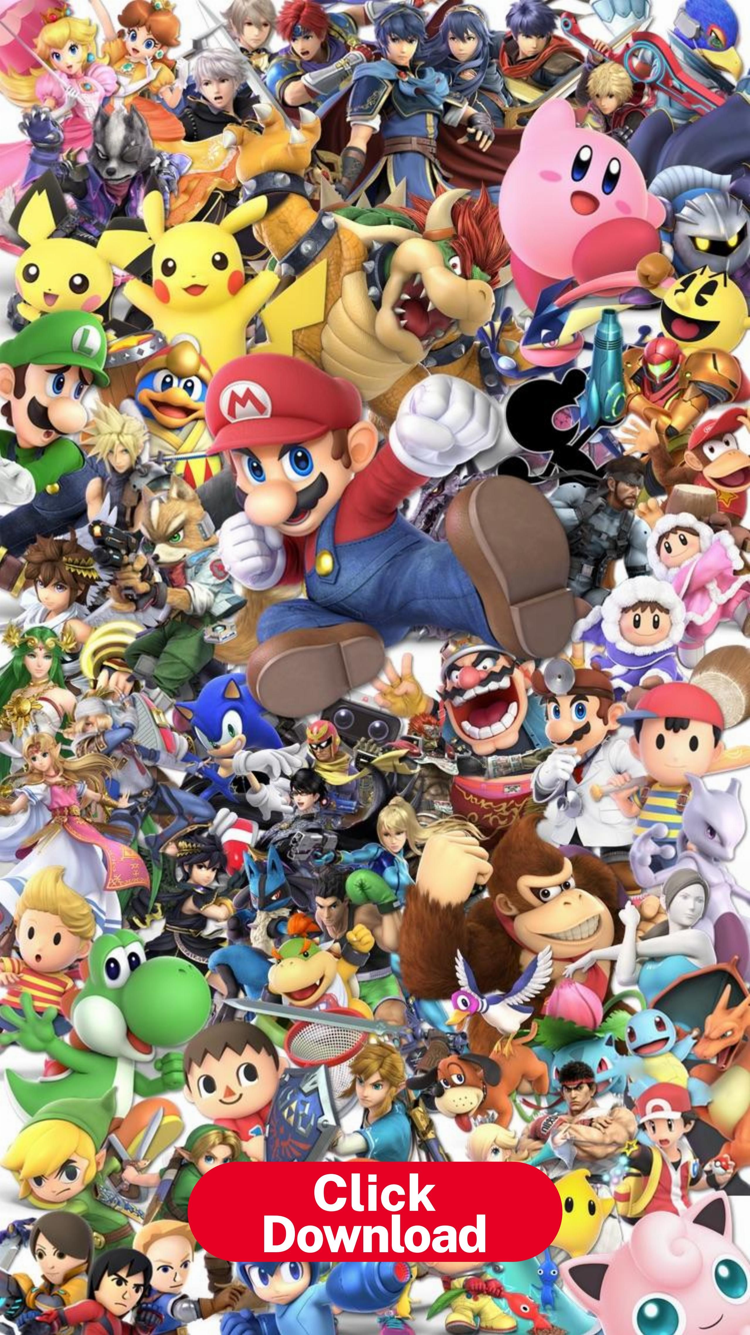 I Made A Phone Wallpaper With Every Character Render Smashbros Super Mario Art Mario Art Wallpaper