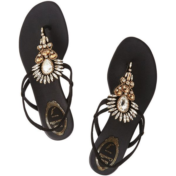 René Caovilla Crystal-embellished suede sandals ($485) ❤ liked on Polyvore featuring shoes, sandals, suede flats, flat sandals, crystal embellished sandals, flats sandals and suede flat sandals