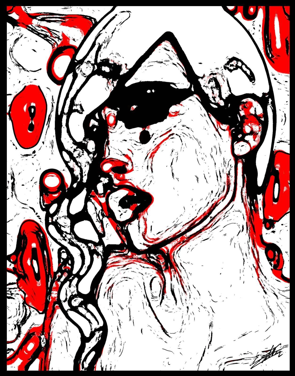 Peinture visage femme moderne et contemporain Noir et blanc rouge