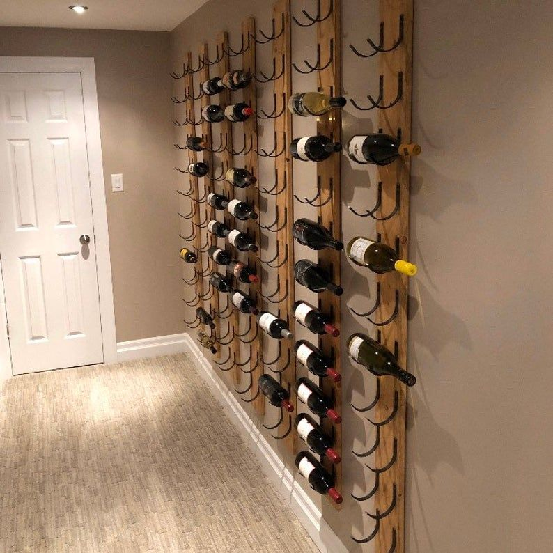 12 Bottle Wine Rack Wall Mounted Steel Wood Reclaimed Etsy In 2020 Wine Rack Wall Wine Rack Wine Cellar Wall