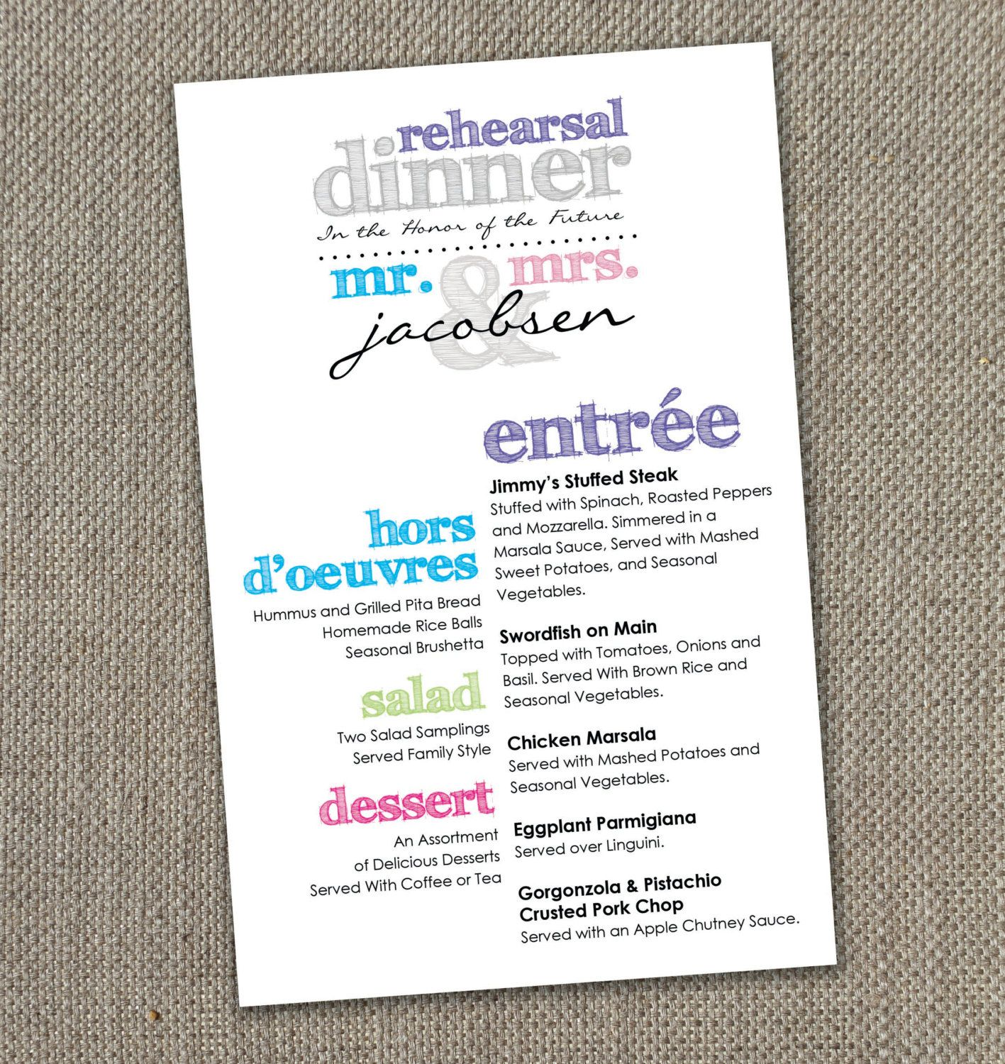 multi-colored rehearsal dinner menu (instant download) | events with