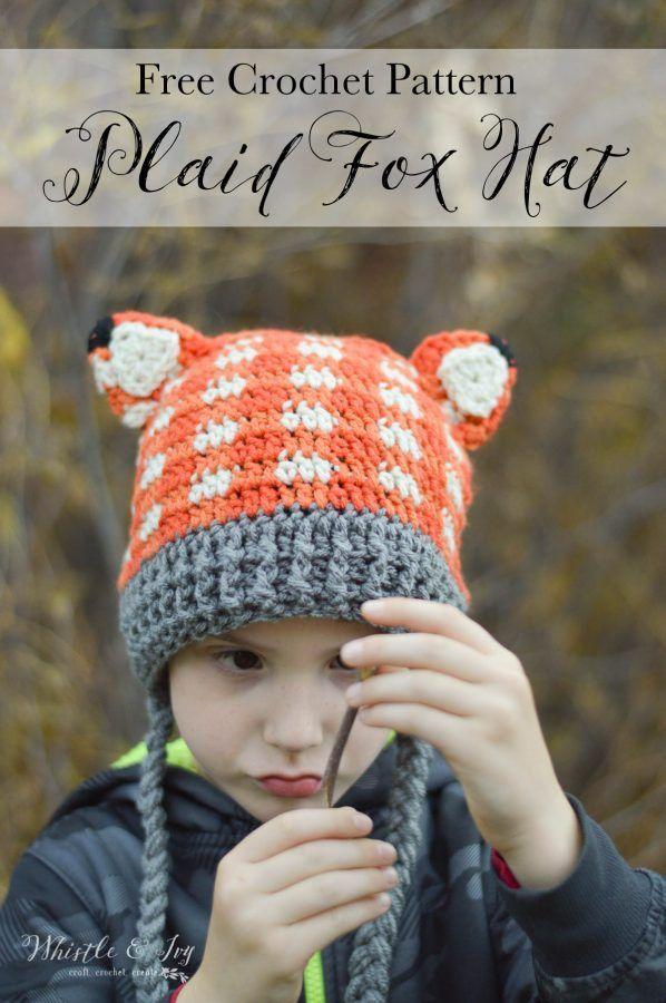 Crochet Plaid Fox Hat   Gorros