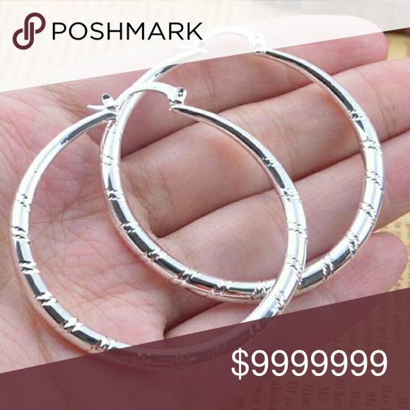 Coming🔜🆕Large Textured Silver Hoop Earrings Coming🔜🆕 Large Textured Silver 925 Hoop Earrings. Like to be notified when they arrive. Jewelry Earrings