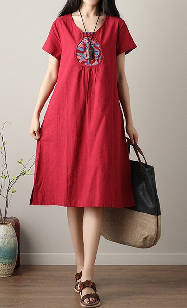 Details about Women dress loose fit pocket tunic Bohemian Boho ethnic flower plate buckle chic