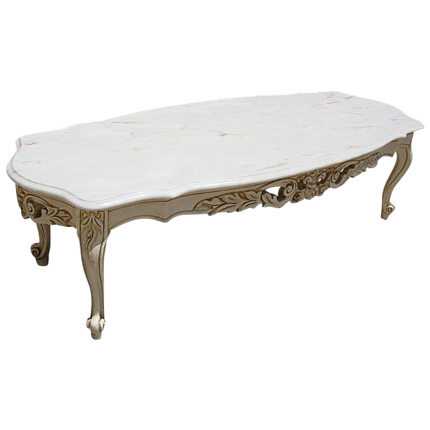 Elegant Vintage Painted French Style Marble Top Coffee Table Shabby