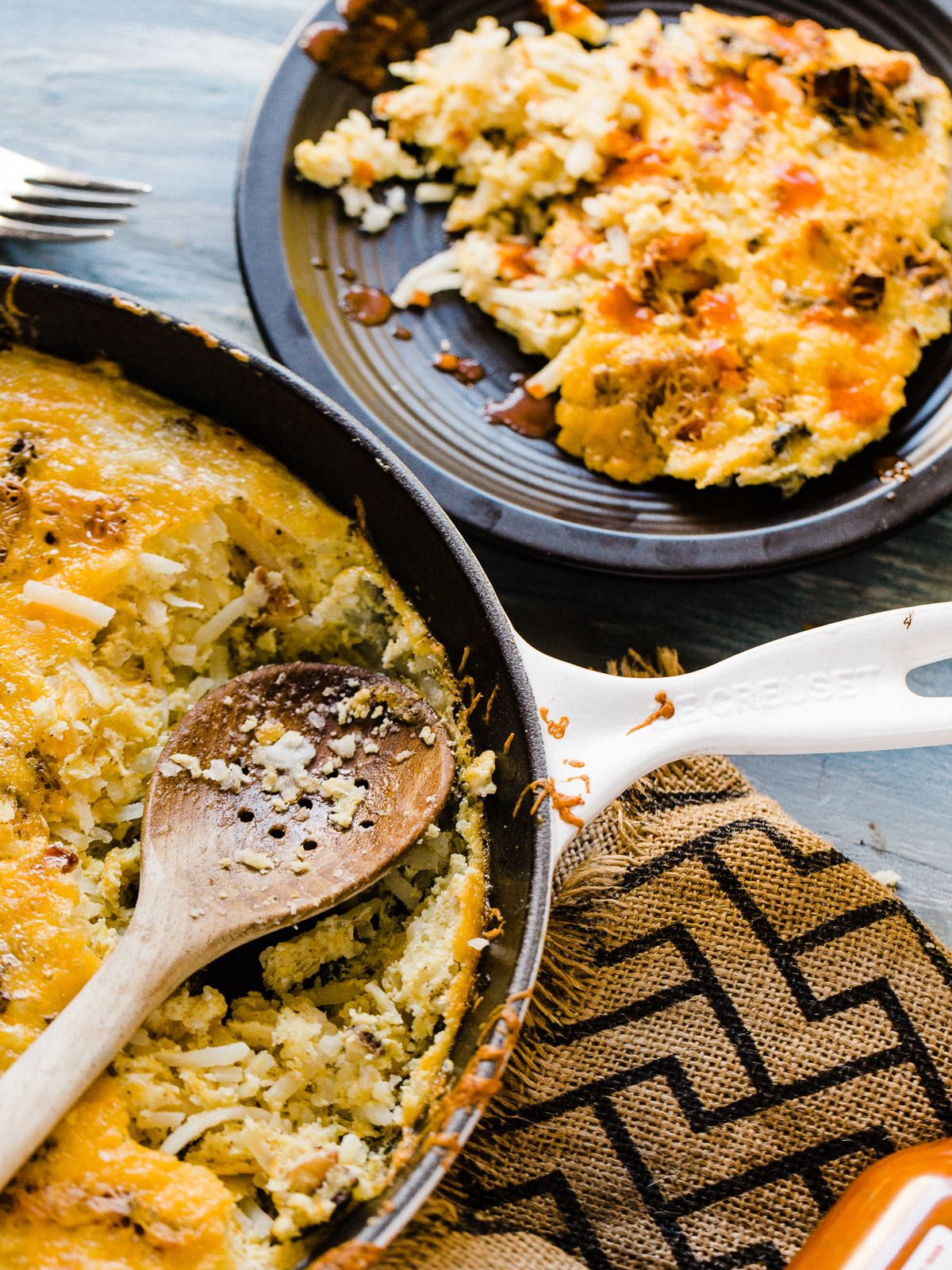 Pour 1 stick of melted butter evenly over the top of the potatoes. Egg Bacon Hash Brown Breakfast Skillet - Dad With A Pan ...
