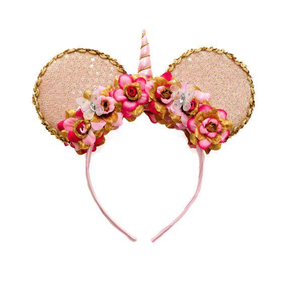 a00d607f09ed Unicorn Mouse Ears Headband, Unicorn Headband, Flower Mouse Ears, Minnie  Ears Headband, Mickey Ears Headband, Birthday Mouse Ears