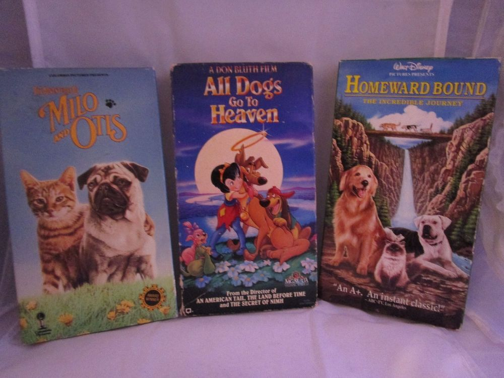 Set Of 3 Vhs Homeward Bound All Dogs Go To Heaven Milo And Otis The Incredibles Vhs Milo And Otis