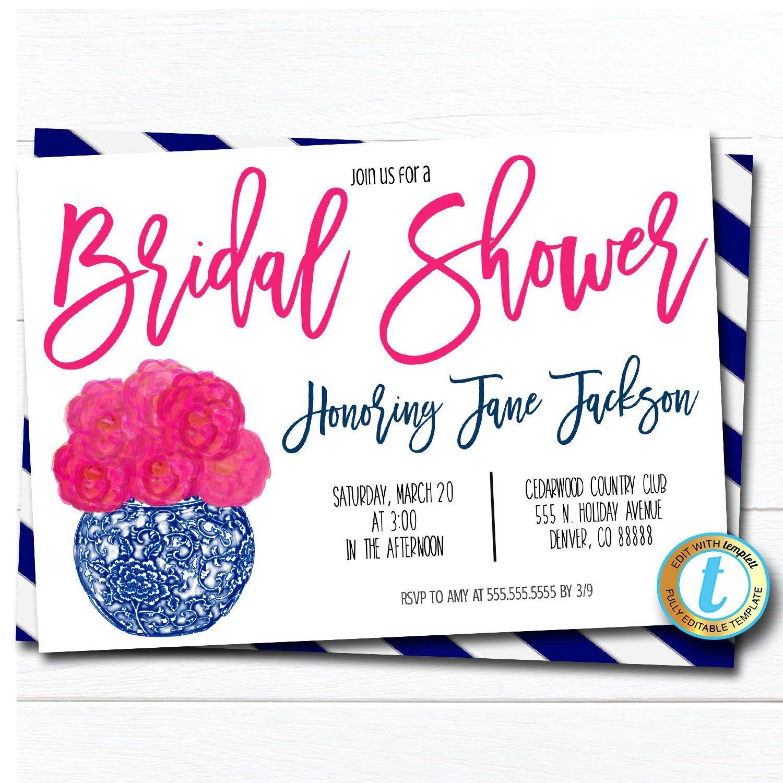 Bridal Shower chinoiserie chic Invitation DIY Editable