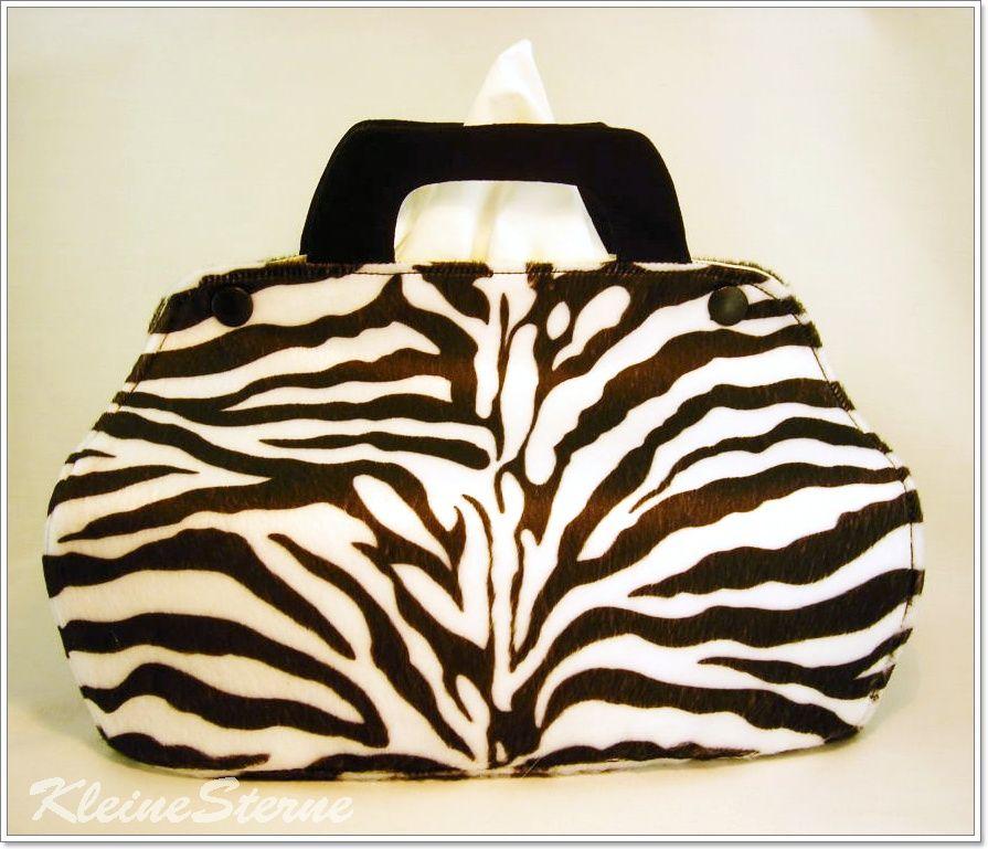Zebra- Handtasche - Bezug für Taschentuchbox -Handmade Tissue Box Cover