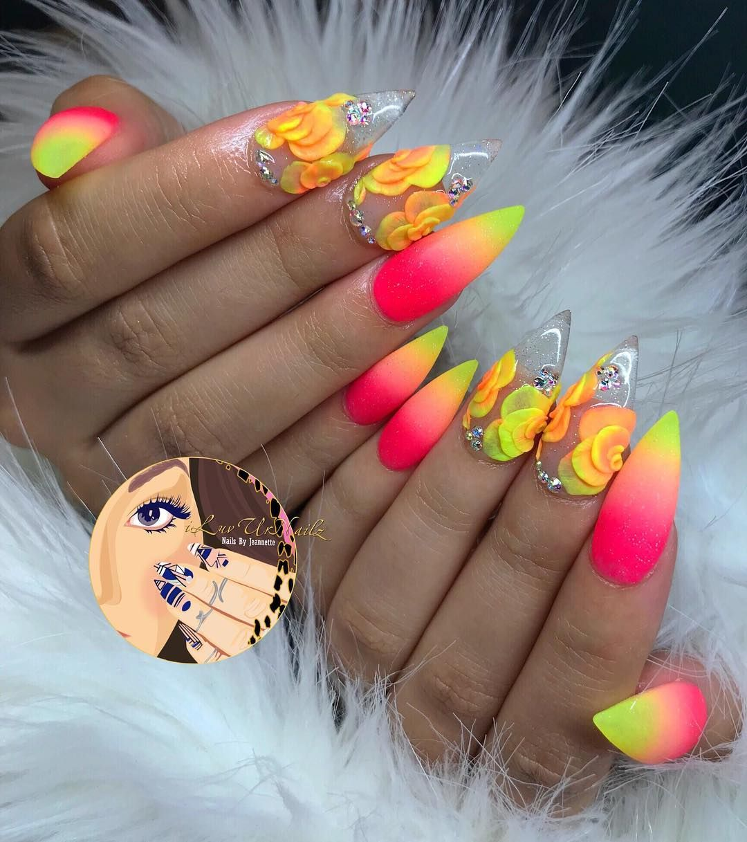 Literally In Love With These Neon Ombre S Clear With 3d Acrylic Flowers Using Youngnailsinc Speed Clear Neon Acrylic Nails Neon Nails 3d Acrylic Nails