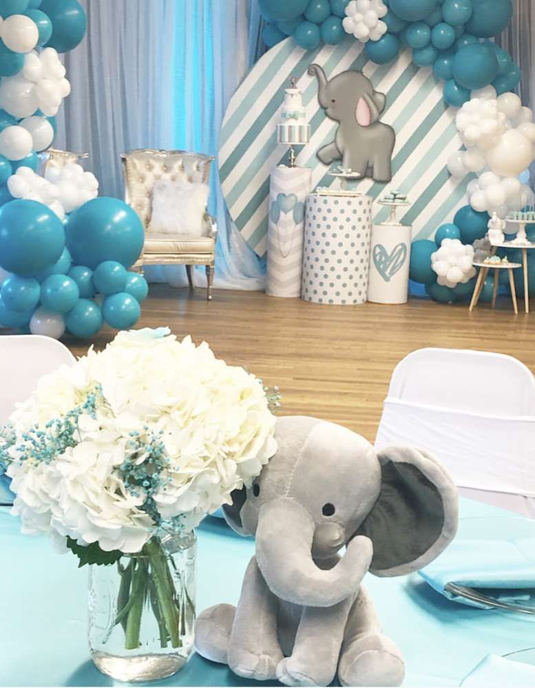 Elephant Baby Shower Party Ideas Boy Baby Shower Centerpieces