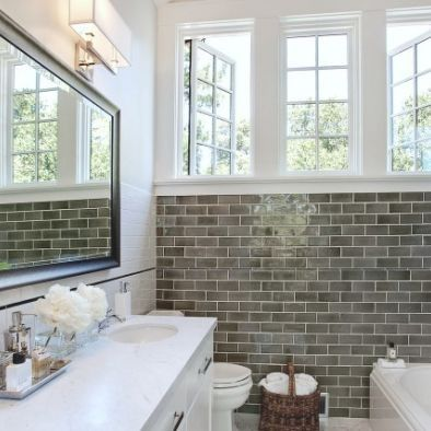 dark gray subway tile Designer Bathroom Renovation www