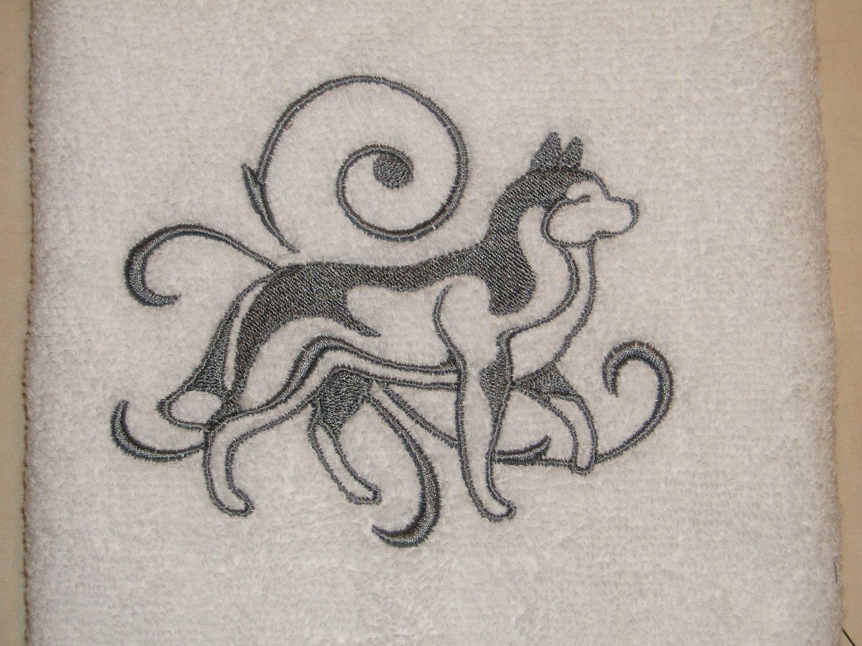 Siberian Husky Dog Outline Embroidered Hand Towel Huskies Dog