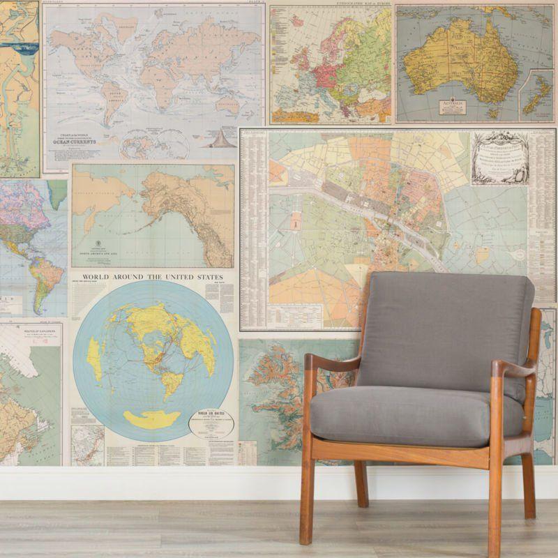 Classic World Map Wallpaper Stylish Map Mural MuralsWallpaper - murales con fotos