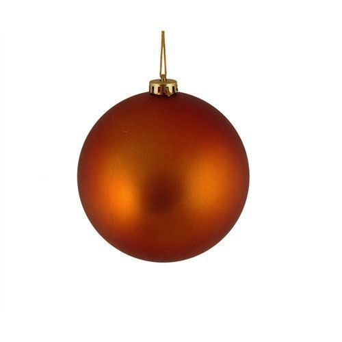 "Shatterproof Matte Burnt Orange Christmas Ball Ornament 4"" (100mm)"