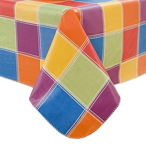 Beautiful Multi Color Check 60 Inch Round Vinyl Tablecloth $9.99 Round + $5.99  Shipping Or