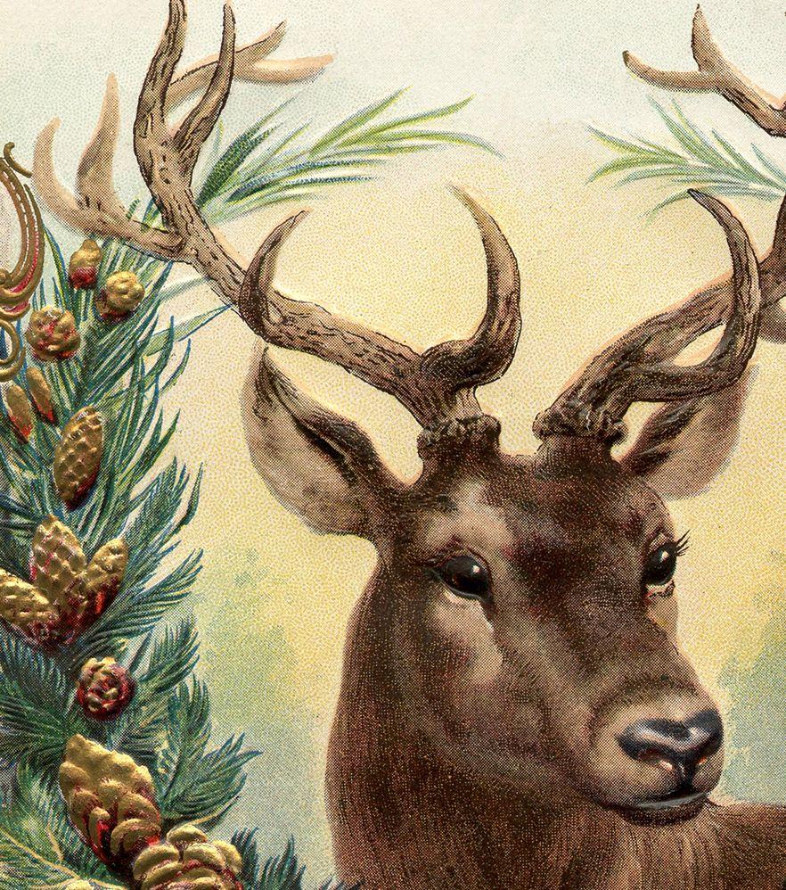 Vintage Christmas angel deer greeting card digital download printable instant image clip art