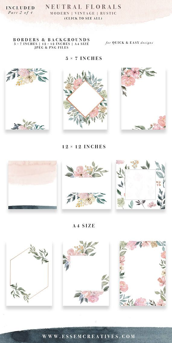 Neutral Watercolor Flowers Clipart, Watercolor Background, Rustic Vintage Geometric Floral Border Frame Clip Art, Wedding Invitation Clipart #displayresolution
