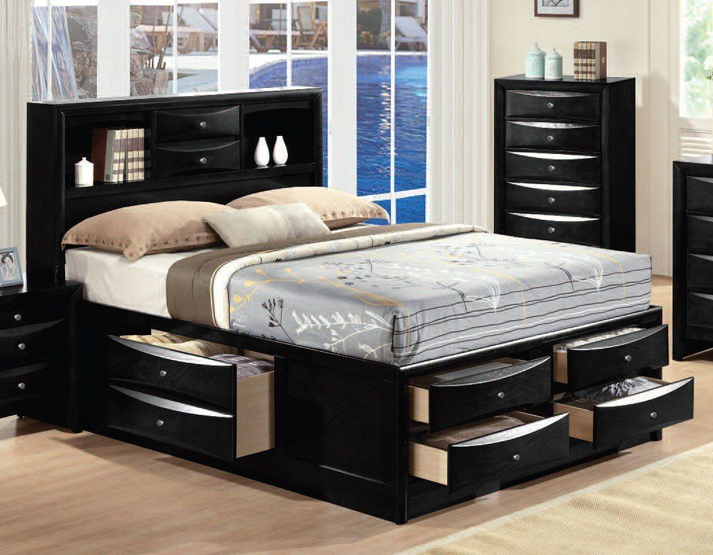 Ireland Bookcase Bed (Black) Storage bed queen, Bed with