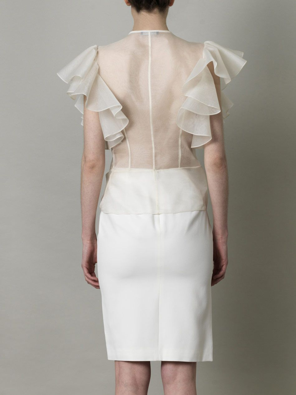 55ea498f Alexander Mcqueen Dragonfly Embroidered Organza Blouse in White | Lyst