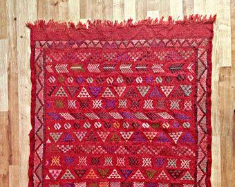 vintage fait main tapis marocain tapis kilim tapis ethnique boho tapis tapis de boh me tapis. Black Bedroom Furniture Sets. Home Design Ideas