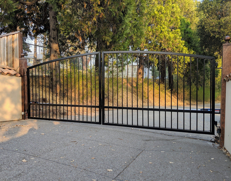 Driveway Gate Kit Wrought Iron Single Pickets Arched Etsy Wooden Gates Driveway Wrought Iron Driveway Gates Wood Gates Driveway