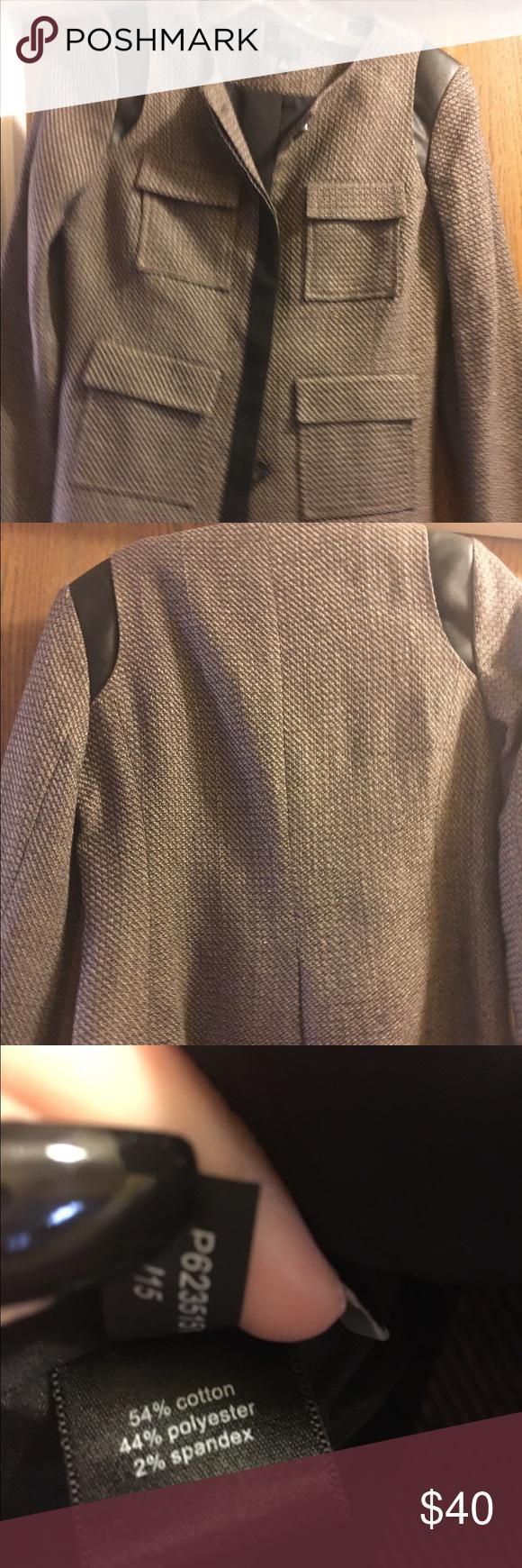 NEW The Limited brown blazer w leather detail XS Brand new never worn!  Beautiful blazer!! The Limited Jackets & Coats Blazers