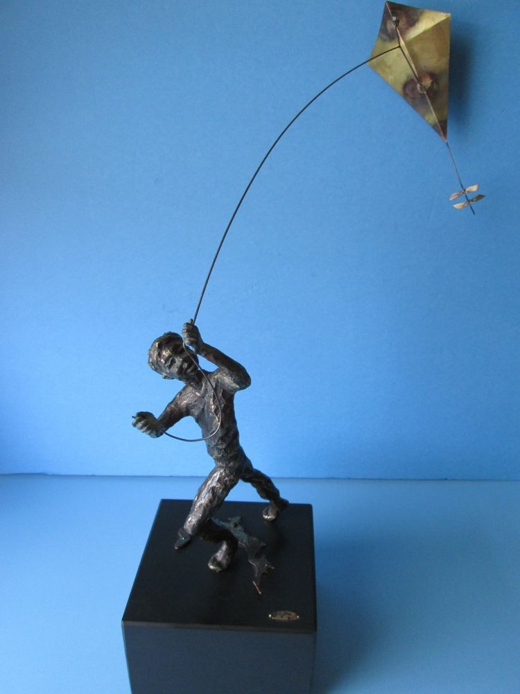 Vintage C Jere Bronze Statue Sculpture Boy Flying A Kite