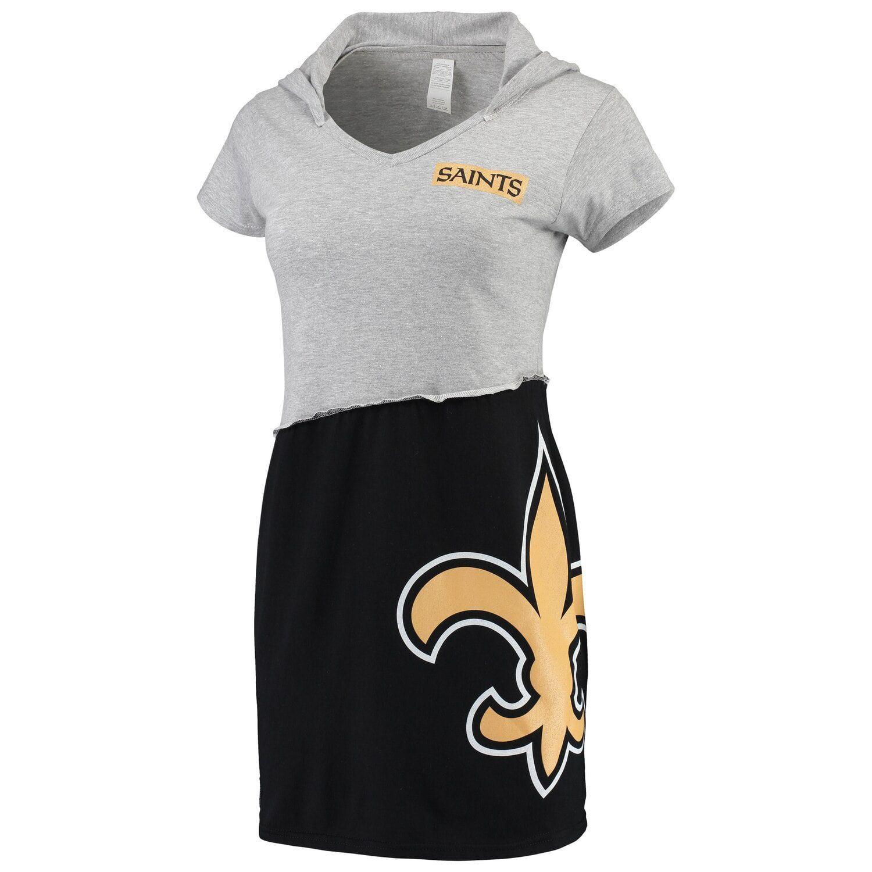 Refried Tees Gray/Black New Orleans Saints Hooded V-Neck Mini Dress