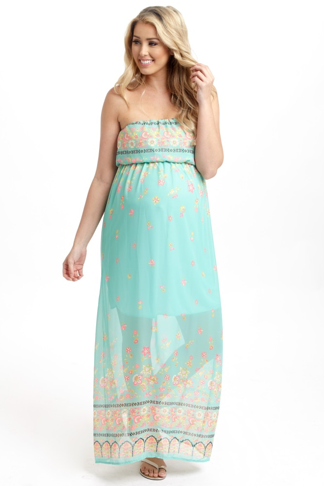 a616f5da72 You won t go unnoticed in this vibrant floral chiffon maternity maxi dress  wherever you go. Mint-Green-Floral-Border-Chiffon-Strapless-Maternity-Maxi- Dress