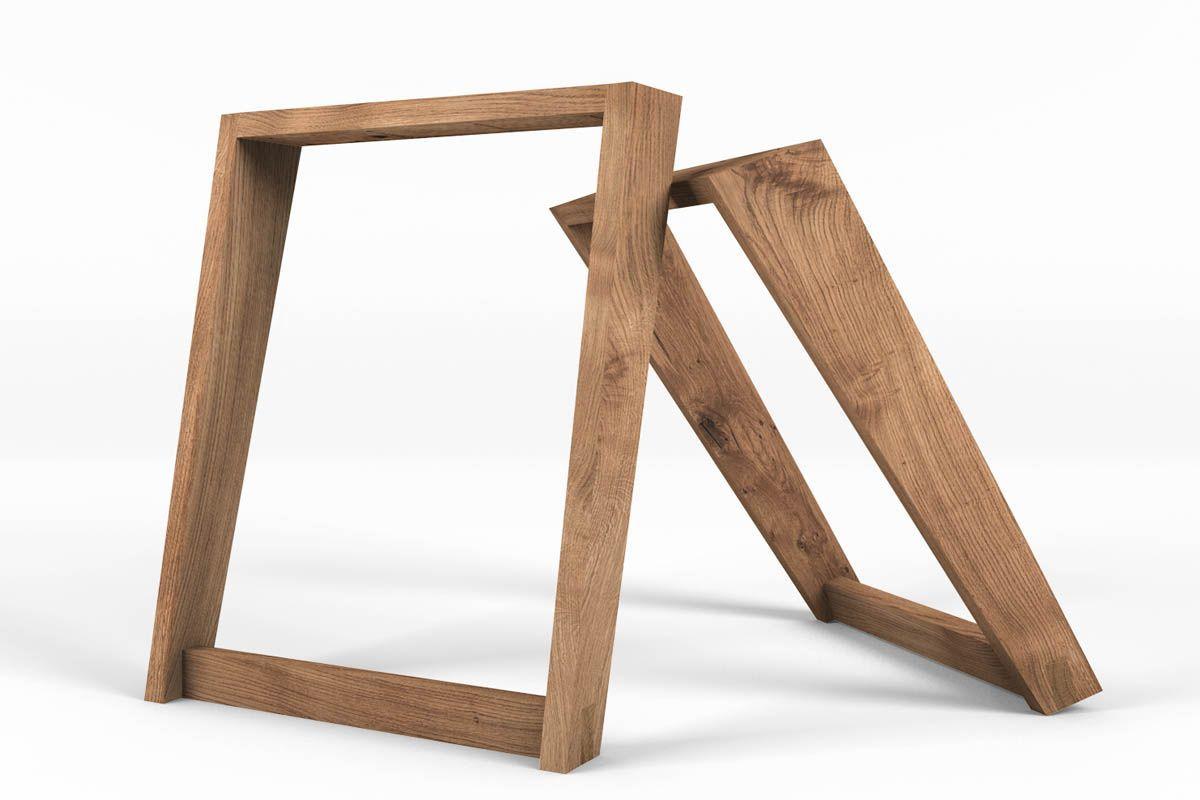 Tischkufen Holz Eiche 2er Set Holzpiloten Tischbeine Holz