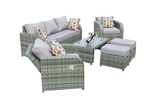 yakoe 50057 rattan garden furniture sofa set plus reclining chairs grey amazonco