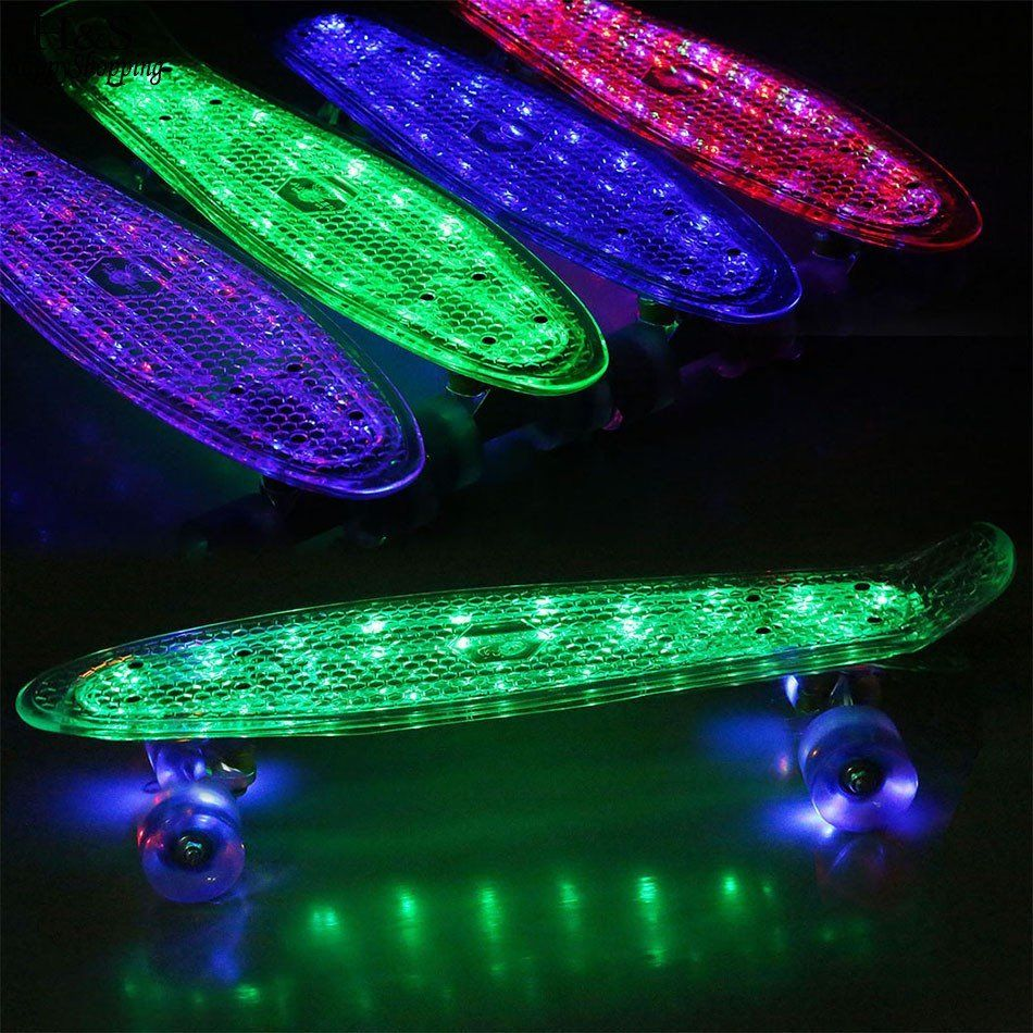 Details about  /Skateboards Complete 22 Inch Mini Cruiser Retro Skateboard with LED Light Up NEW