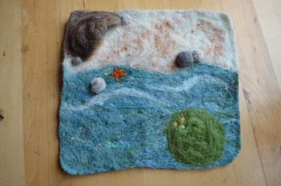 Wool beach play mat w/ mermaid and girl by TallTreeToys on Etsy