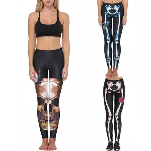 4be18755fa117c Black Skeleton Skinny Leggings halloween