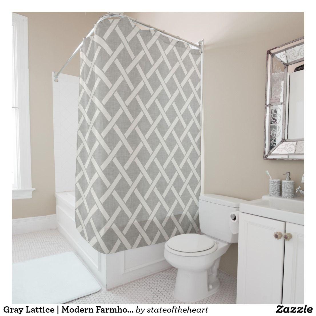 Gray Lattice Modern Farmhouse Bathroom Decor Shower