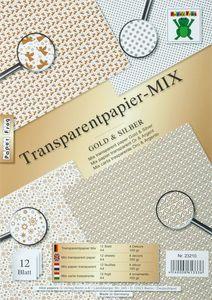 Transparentpapier, 12 Blatt gold & silber (DIN A4)