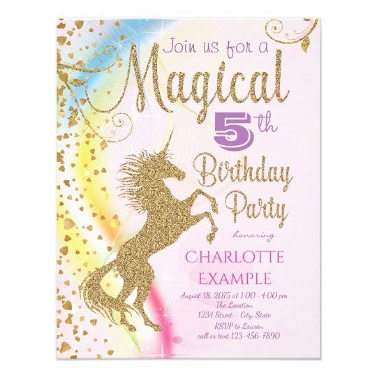 CUSTOM Unicorn Birthday Invitation Card