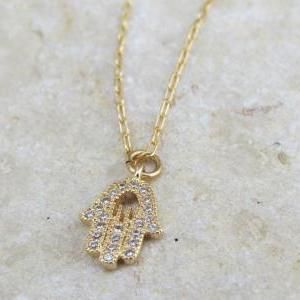 Gold hamsa necklace, Dainty hand necklace
