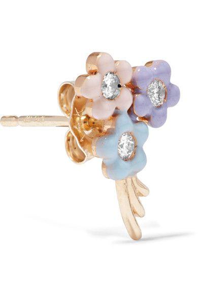 Bouquet De Fleurs En Or 14 Carats, Diamant Et Émail Boucle D'oreille - Taille Alison Lou