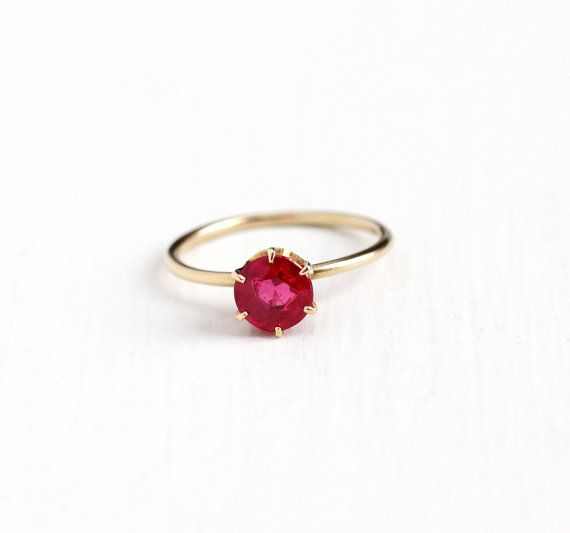1d3724b8b Antique 14k Yellow Gold Created Ruby Ring - Vintage 1910s Size 6 Edwardian  1 Carat + Synthetic Red Pink Stone Dainty Engagement Fine Jewelry by  Maejean ...