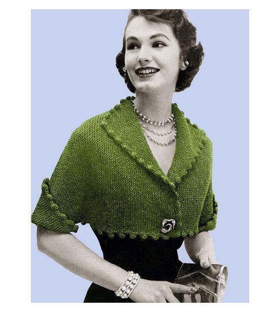 Vintage Knitting Pattern 1950s Pom Pom Cropped Bolero Digital ...