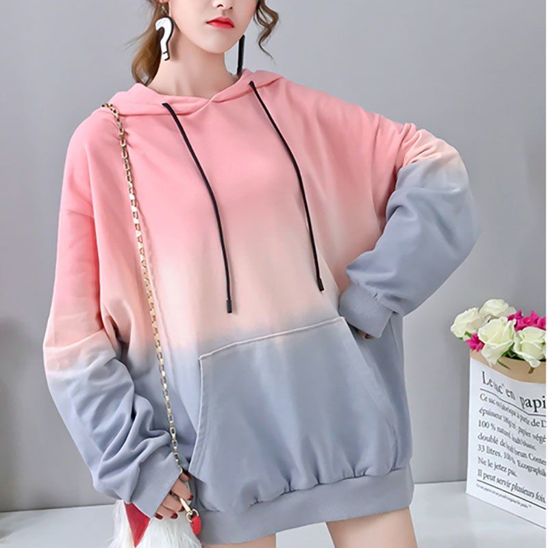 fcbe0653a5a9f Korean Style Long Sleeve Oversize Hoody Sweatshirts Women Purple Pink Clothing  Fall Harajuku Pink Hoodie Sweatshirt Clothes Tops