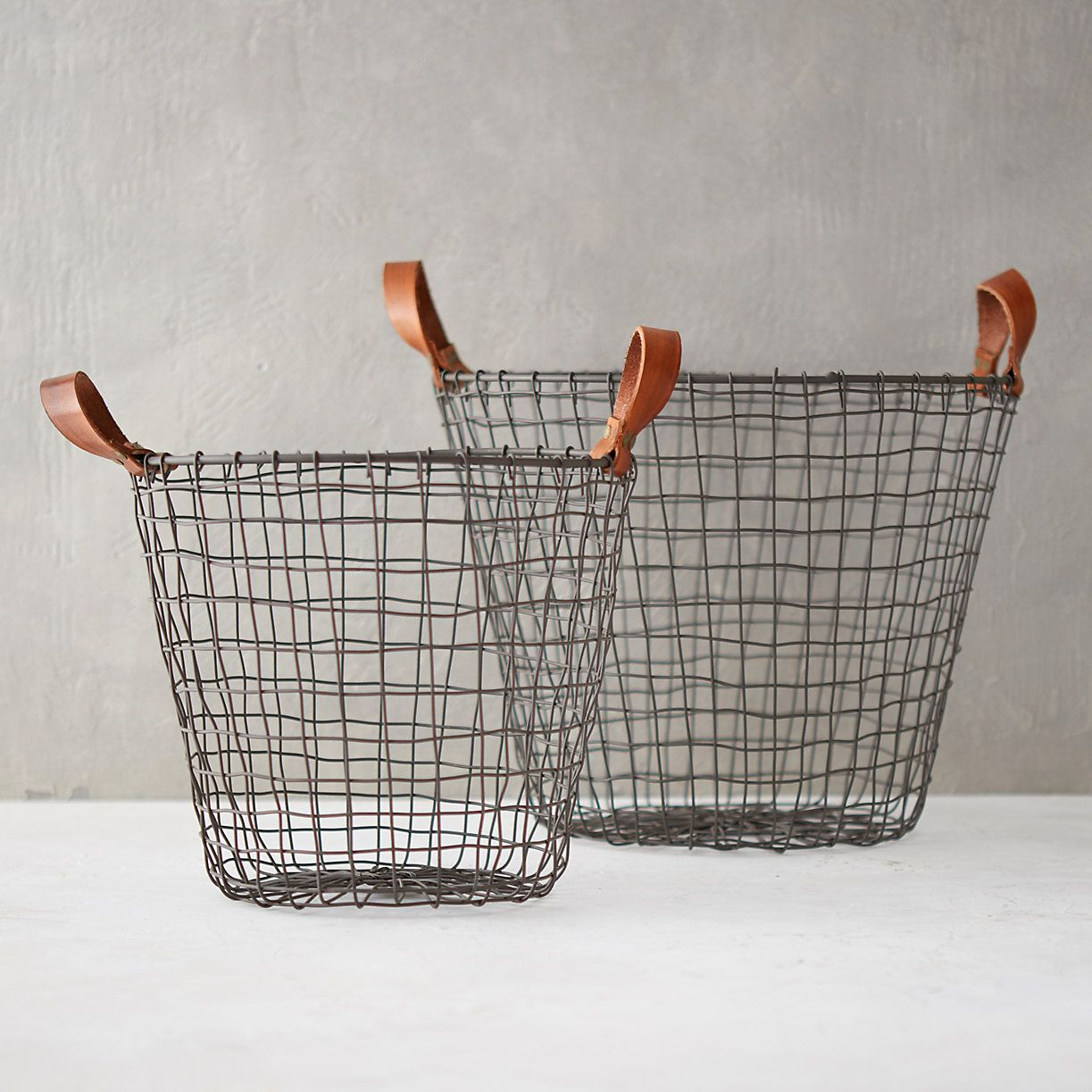 Leather Handle Iron Basket   Pinterest   Wire basket, Iron and Storage