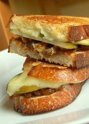 Caramelized Onion, Apple, Walnut Grilled Cheese