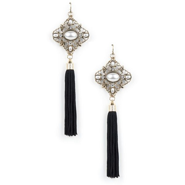 Sole Society Deco Tassel Earring (€13) ❤ liked on Polyvore featuring jewelry, earrings, accessories, gold, deco earrings, art deco inspired jewelry, medallion jewelry, art deco jewellery and pearl earrings