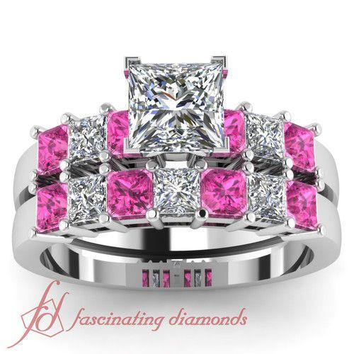 New  Ct Princess Cut Diamond u Pink Sapphire Charming Engagement Wedding Rings Set